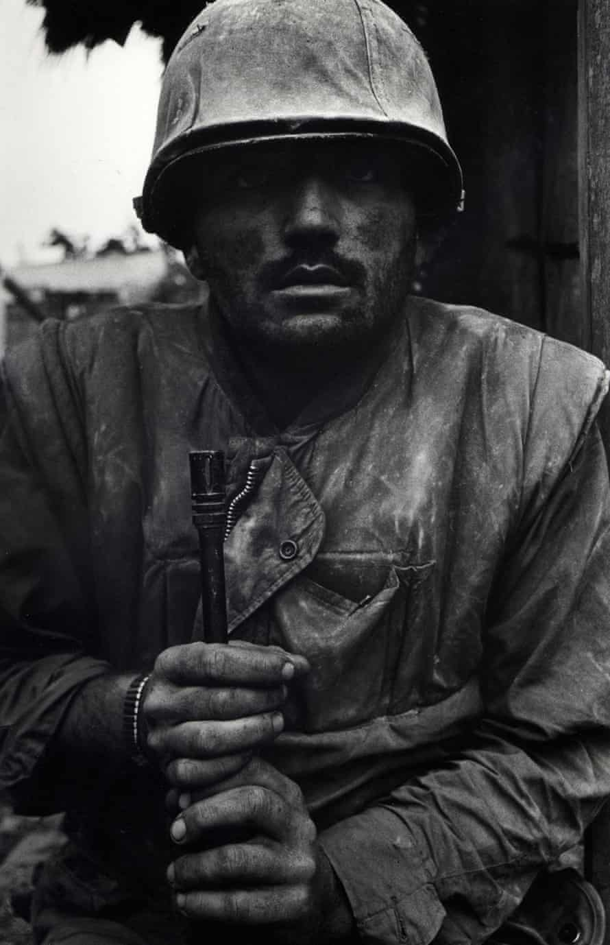 Don McCullin's 'incomparable' Shell Shocked US Marine, Hue, Vietnam, 1968, 'his dark eyes sightless with shock'.