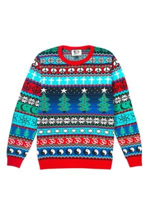 Christmas jumper multi faith red blue green black white