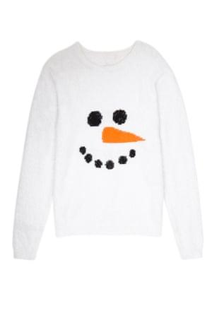 Snowman jumper white orange black