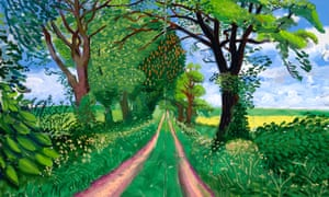 A detail from David Hockney's Late Spring Tunnel, May, 2006 – oil on canvas.