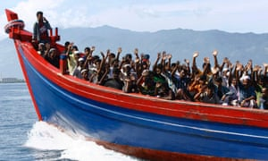 Ethnic Rohingya refugees from Burma who got stranded stranded on their way to Australia.