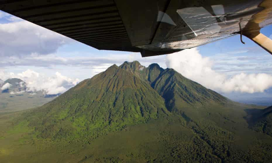 Aerial view of the volcanoes in Congo's Virunga national park.