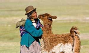 Woman with Llama in Bolivia