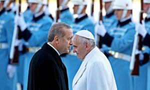 Pope Francis, right, with Recep Tayyip Erdoğan, at the lavish £385m presidential palace in Ankara