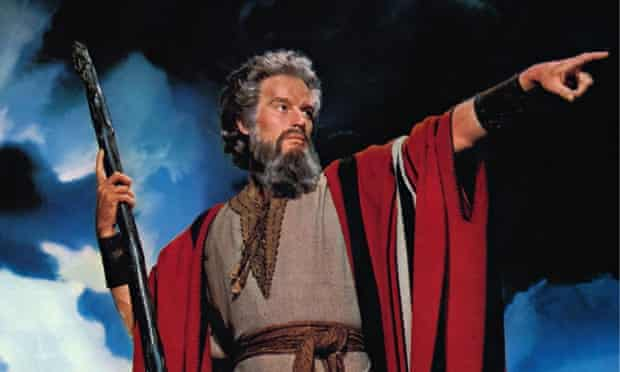 Charlton Heston as Moses in the 1956 movie The Ten Commandments