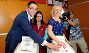 Labor leader Daniel Andrews and his wife Catherine cast their votes earlier today.