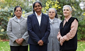 Sister Ancy Mathew with members of her order, the Congregation of Adoratrices.