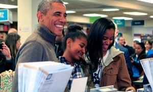 Barack Obama, Sasha and Malia