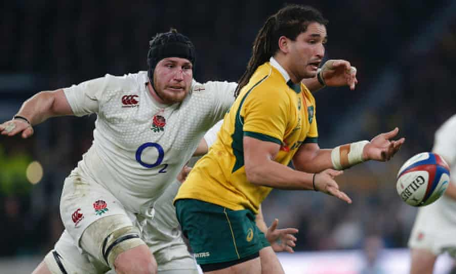 England's Ben Morgan about to tackle Saia Fainga'a during his man-of-the-match performance against Australia.