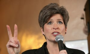 Joni Ernst addresses supporters during a campaign stop at the Amtrak Osceola train depot, as poll results put her ahead of her opponents.