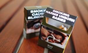 Cigarette packets Australia plain packaging