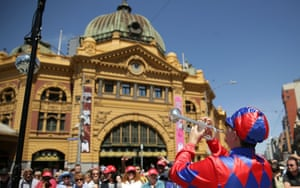Entertainers perform during the 2014 Melbourne Cup parade