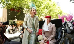 Trainer Gai Waterhouse with an Emirates flight attendant at the beginning of the parade.