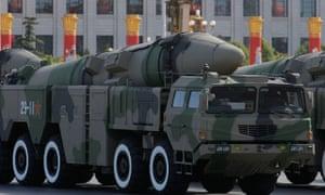 Military parade in Tiananmen Square, China