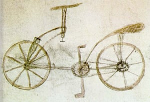 Sketch of a bicycle said to have been discovered in Leonardo da Vinci's Codex Atlanticus in 1974