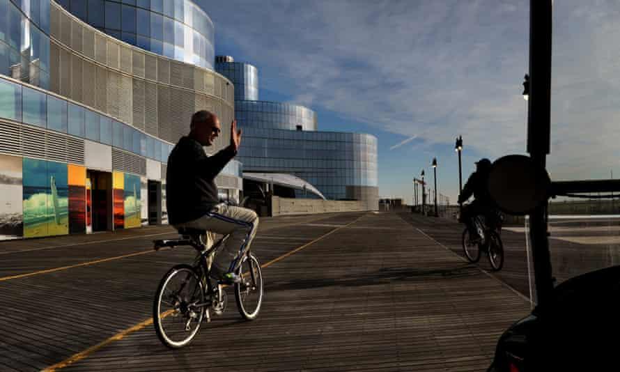 Atlantic City mayor Don Guardian passes the shuttered Revel Casino.