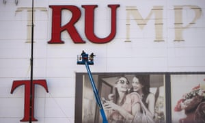 Letters being removed last month from the Trump Plaza Casino, which closed in September.