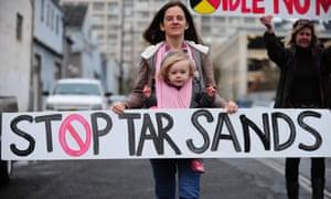 Protest against tar sands in Portland, Oregon, US.