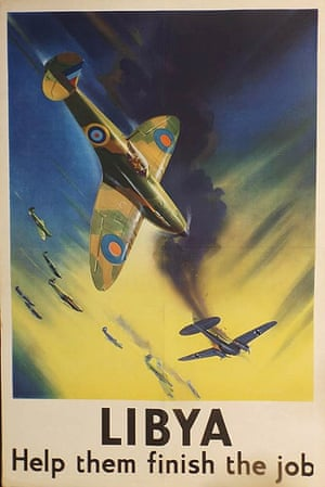 """LIBYA Help them finish the job"", a poster showing a British Spitfire shooting down a German Heinkel bomber by Frank Wootton"