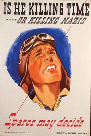 A poster designed by Owen Miller for the Ministry of Aircraft Production showing a pilot looking up into the skies
