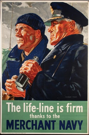 Artwork celebrating the work of the Merchant Navy by Charles Wood for H.M.Stationery Office