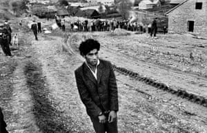 A young Gypsy suspected of being guilty takes part in a murder reconstruction, Jarabina, Czechoslovakia, 1963