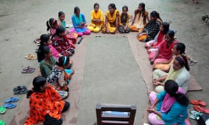 A group Bangladeshi girls, aged between 12 and 17, learn about reproductive health and family planning in Gaibandha district, 120 miles north of Dhaka.
