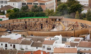 Working on a scene for Game of Thrones in Osuna's bullring. Photograph: Jon Nazca/Reuters