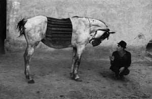 A gypsy and his horse, Romania, 1968