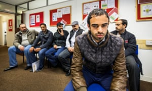 Mohammed, a stateless Kuwaiti Bidoon, meeting other men in the same situation in Harrow