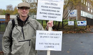 John McArthur makes his one-man protest outside LAMH in Motherwell