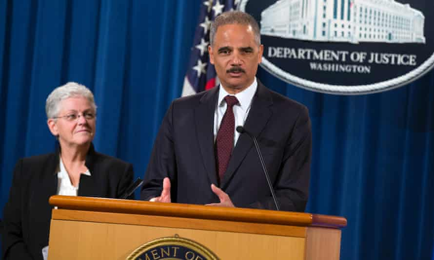 The EPA's Gina McCarthy and US attorney general Eric Holder announce the fine for the car-makers.