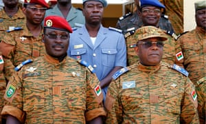 Lt Col Isaac Zida, (front left) with other military chiefs in Ouagadougou, Burkina Faso
