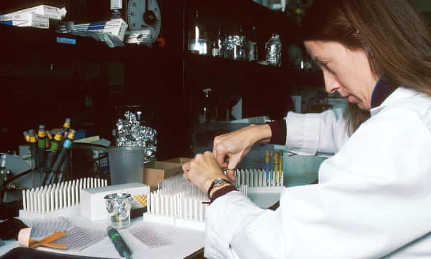 Technician performing laboratory test