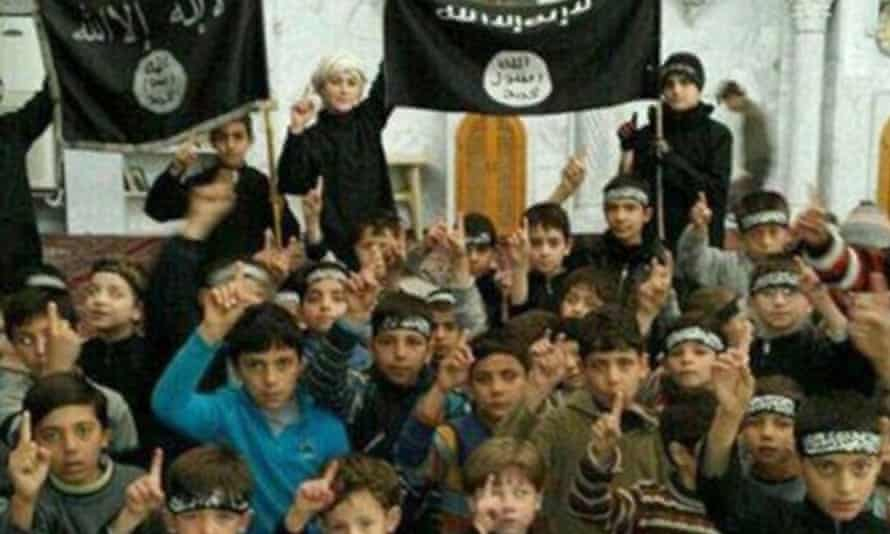Children at a jihadist training camp in an image released by activist network Raqqa is being Slaughtered Silently.