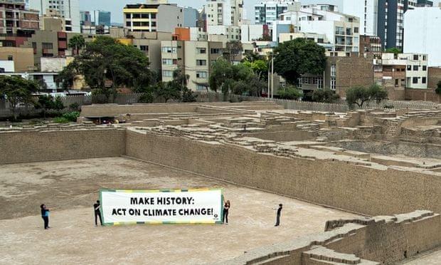 Oxfam banner in Lima, Peru