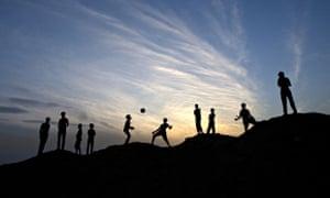 Boys playing football in Gaza
