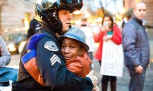 Portland Michael Brown protest police hug