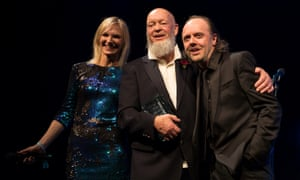 Jo Whiley, Michael Eavis and Lars Ulrich on stage at the Music Industry Trust Awards at Grosvenor House Hotel in London.
