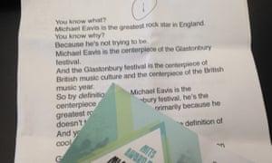 The hard copy of Lars Ulrich's speech for Michael Eavis.