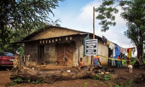 A family home under quarantine in the Port Loko district of Sierra Leone, where the Ebola outbreak is widespread.