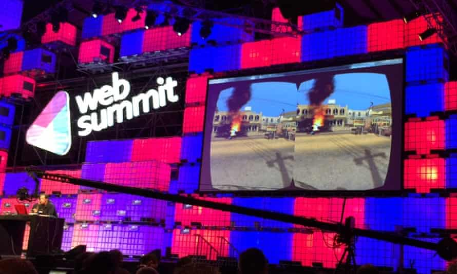 The Bravemind virtual reality application being demonstrated at Web Summit.