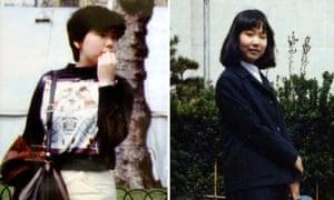 Keiko Arimoto (left, dated May 1983 in London) and Megumi Yokota (dated April 1977 in Niigata city).