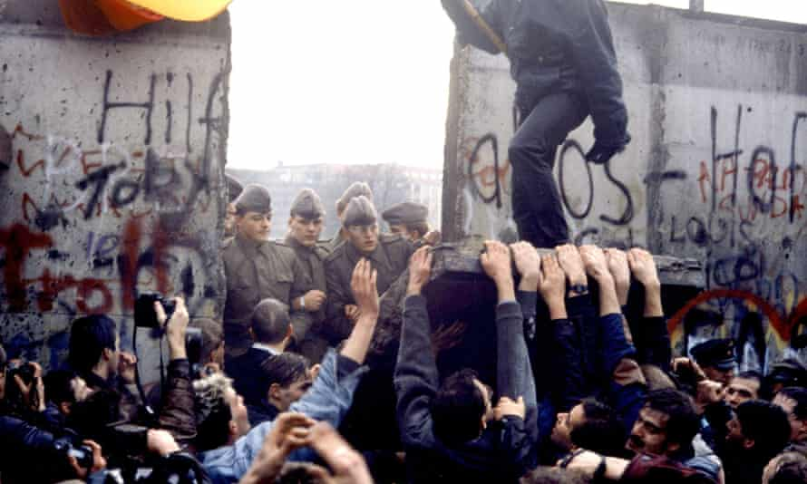 Berlin Wall coming down