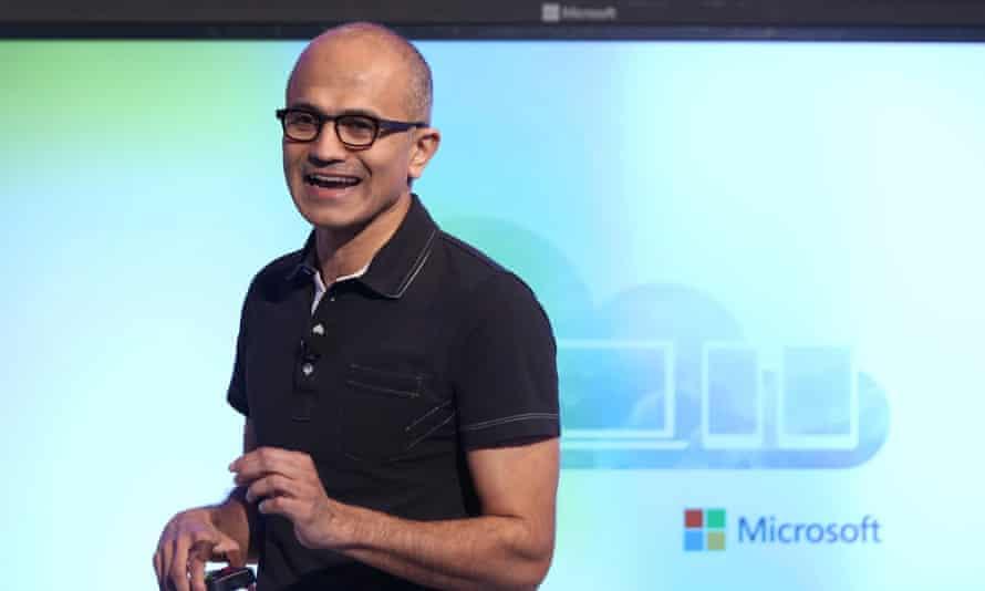 Microsoft CEO Satya Nadella speaks at a Microsoft event in San Francisco, California.