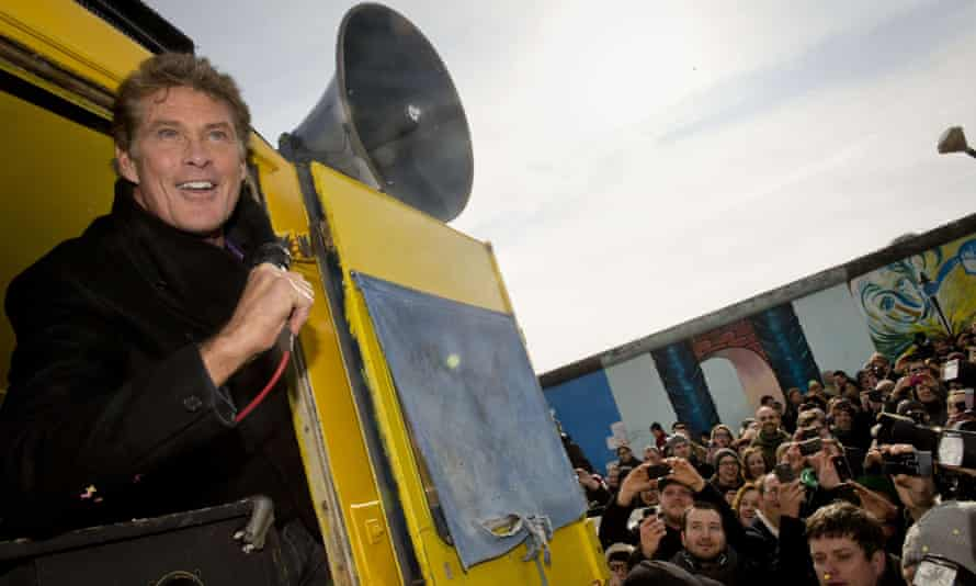 US actor and singer David Hasselhoff returns to the scene of his infamous Berlin wall performance in March 2013.