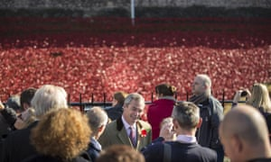 Nigel Farage visiting the 'Blood Swept Lands and Seas of Red' installation at Tower of London.