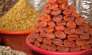 Dried apricots in the market in Uzbekistan