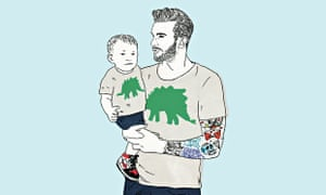 Illustration of a dad with tattoos holding a baby