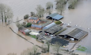 Flooded farm on Somerset Levels, Somerset, England